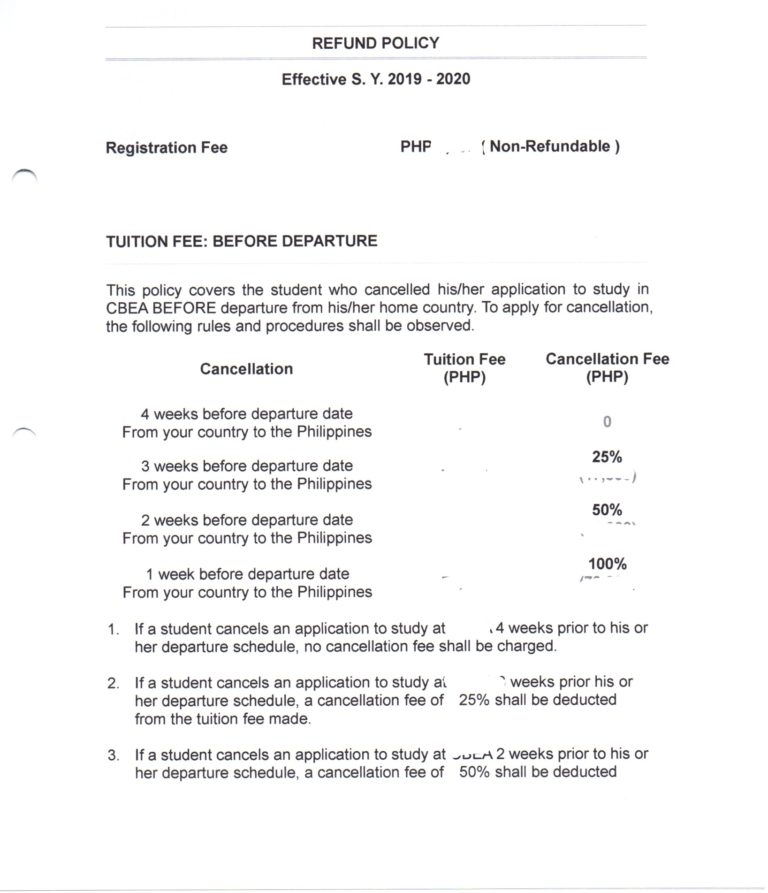TESDA提出書類 キャンセル料金等について