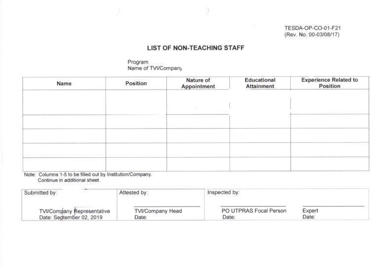 TESDA提出書類 先生以外のリスト