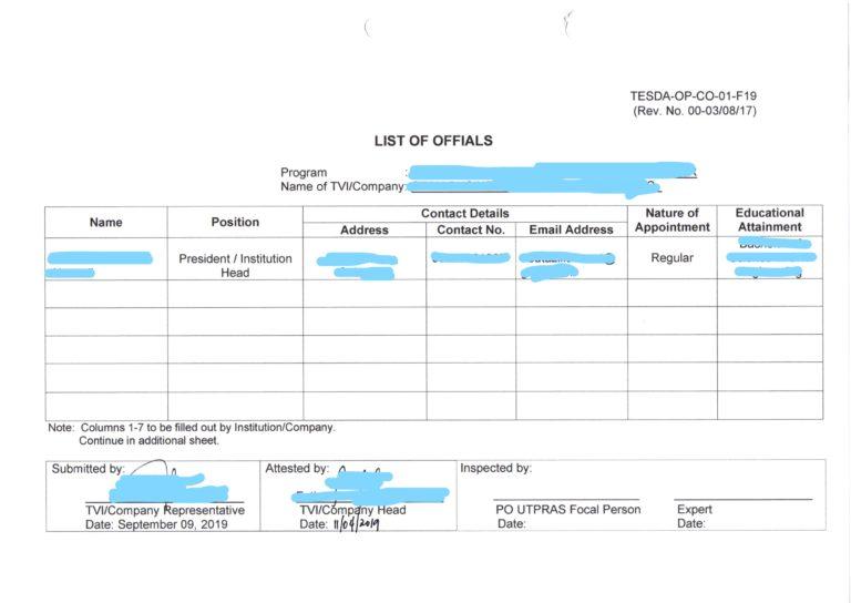 TESDA提出書類 役員リスト