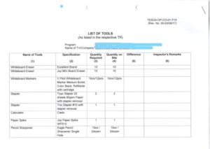TESDA提出書類 必要書類 参考資料 2