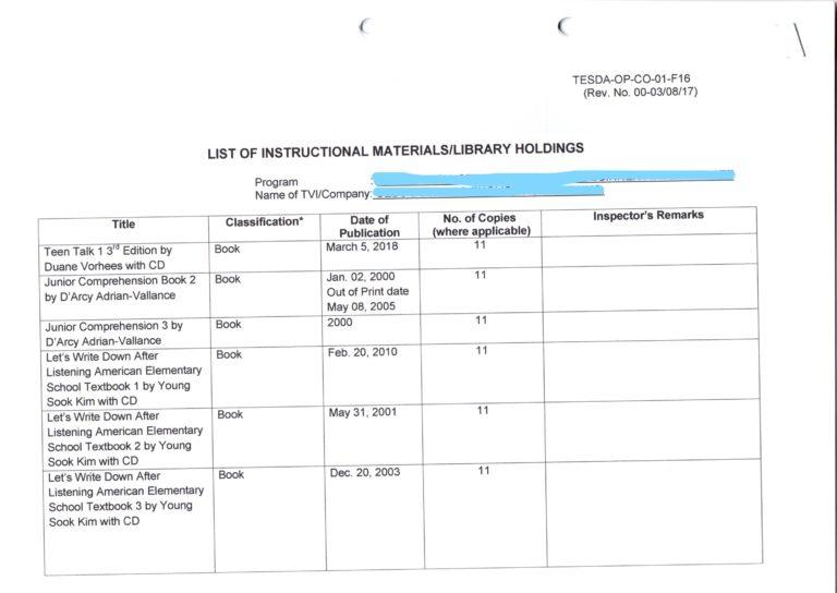 TESDA提出書類 必要書類 参考資料 3