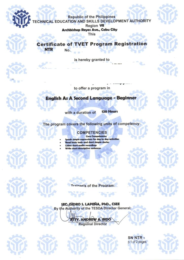 TESDA提出書類 証明書